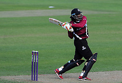 Somerset's Chris Gayle pulls the ball Photo mandatory by-line: Harry Trump/JMP - Mobile: 07966 386802 - 31/05/15 - SPORT - CRICKET - Natwest T20 Blast - Somerset v Kent- The County Ground, Taunton, England.