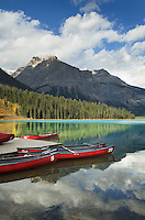 Red canoes Emerald Lake, Yoho National Park British Columbia