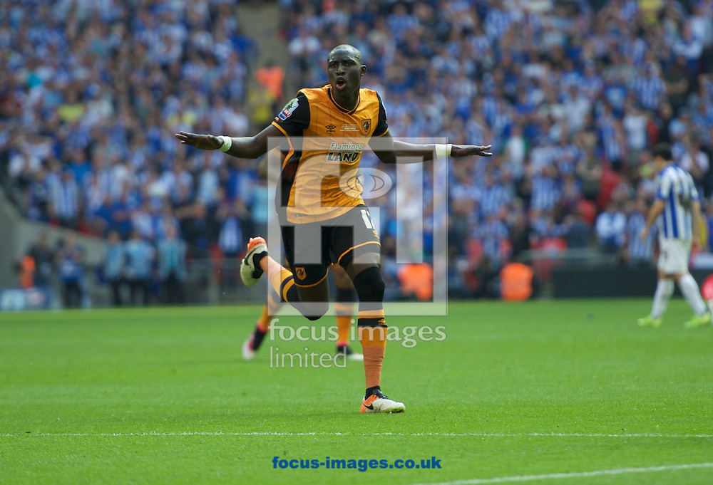 Mohamed Diame of Hull City celebrates after scoring the opening goal during the Sky Bet Championship Play-off Final at Wembley Stadium, London<br /> Picture by Alan Stanford/Focus Images Ltd +44 7915 056117<br /> 28/05/2016