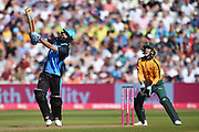Moeen Ali of Worcestershire Rapids hits down the ground for six runs during the Vitality T20 Finals Day 2019 match between Notts Outlaws and Worcestershire Rapids at Edgbaston, Birmingham, United Kingdom on 21 September 2019.