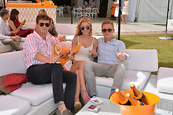 Left to right, CHARLES MOORE, LUCY TOMKINS and ALEXANDER MACKWOOD at the Veuve Clicquot Gold Cup Final at Cowdray Park Polo Club, Midhurst, West Sussex on 20th July 2014.