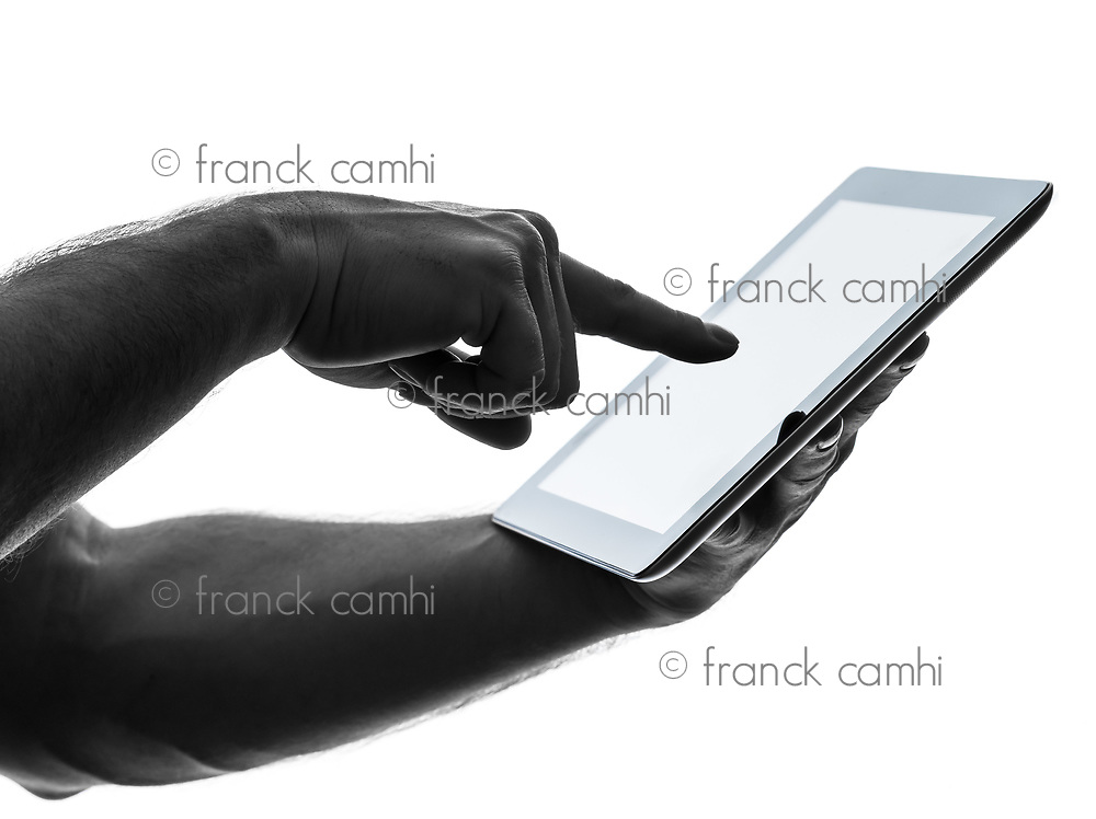 close up hands man touchscreen one  man touchscreen digital tablet in silhouette on white background
