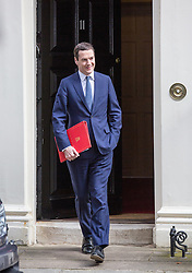 © Licensed to London News Pictures. 13/07/2016. London, UK. Chancellor of the Exchequer GEORGE OSBORNE leaves Number 11 on the day current Prime Minister David Cameron is replaced by Theresa May. Photo credit : Tom Nicholson/LNP
