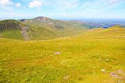 Upland landscape view west to Moel Eilio mountain, Mount Snowdon, Gwynedd, Snowdonia, north Wales, UK