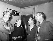 "25/05/1959<br /> 05/25/1959<br /> 25 May 1959<br /> Listowel Drama Group performs ""Sive"" at the Abbey Theatre (Queens Theatre), Dublin. Kerry author and poet Sigerson Clifford went back stage after the 1st night production of ""Sive"" by the Listowel Drama Group to congratulate the players. Picture shows Mr Clifford (left) chatting to players Siobhan Cahill, Brian Brennan and Kevin O'Donovan in a dressing room of the Abbey."