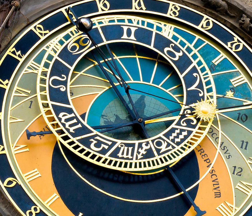View of the astronomical clock in Prague, this a a popular tourist attraction.