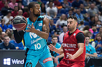 Movistar Estudiantes Omar Cook and Montakit Fuenlabrada Marko Popovic during Liga Endesa match between Movistar Estudiantes and Montakit Fuenlabrada at Wizink Center in Madrid, Spain. November 12, 2017. (ALTERPHOTOS/Borja B.Hojas)