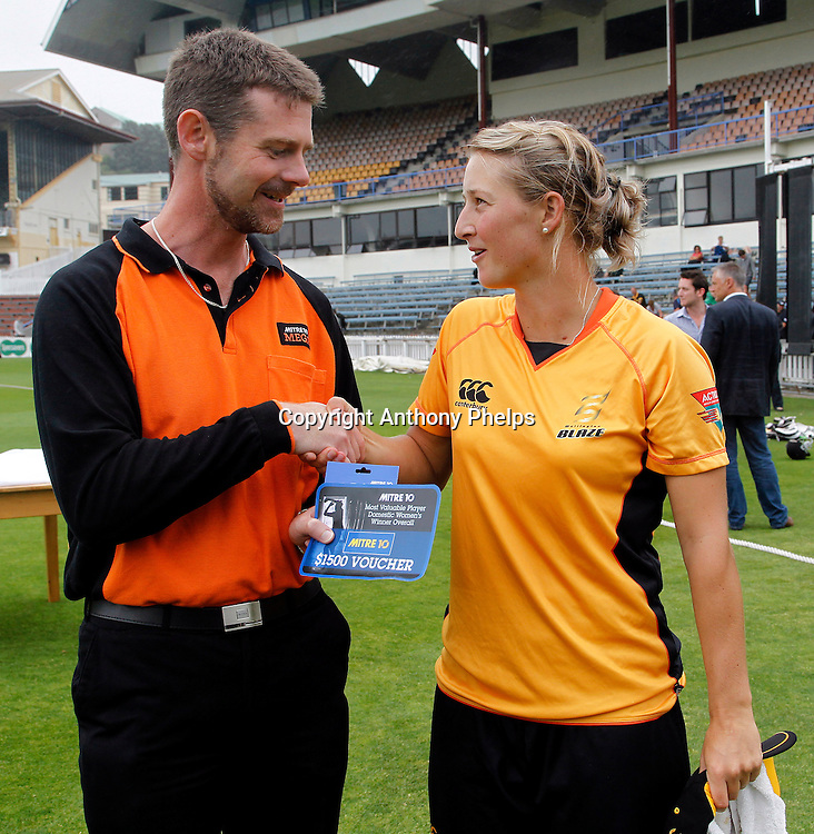Sophie Devine Mitre 10 Mega MVP, Action Cricket Twenty20 Final, Blaze v Magicians. Basin Reserve, Wellington. Saturday 5 February 2011. Photo: Anthony Phelps/PHOTOSPORT
