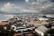 Aerial view of West Point, one of Monrovia's most dangerous slums. The area is home to approximately 75,000 people, most of whom scratch a living by hawking and petty crime, Monrovia 19 July, 2010..