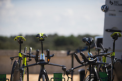 \mitch bikes are ready for Stage 1 of the Madrid Challenge - a 12.6 km team time trial, starting and finishing in Boadille del Monte on September 15, 2018, in Madrid, Spain. (Photo by Balint Hamvas/Velofocus.com)