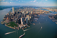 "Aerial, Lower Manhattan, in 1990""s, Battery Park"