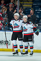 KELOWNA, BC - FEBRUARY 12: Matthew Wedman #20 and Kyle Topping #24 of the Kelowna Rockets celebrate a goal against the Tri-City Americans at Prospera Place on February 8, 2020 in Kelowna, Canada. Wedman was selected in the 2019 NHL entry draft by the Florida Panthers. (Photo by Marissa Baecker/Shoot the Breeze)