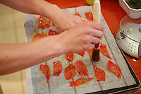 "Lenotre Ecole Culinaire, Paris,..short course - ""Return to the Market"" with Chef Jacky Legras..tomato skins for decoration of tartalette..photo by Owen Franken for the NY Times..July 12, 2007......."