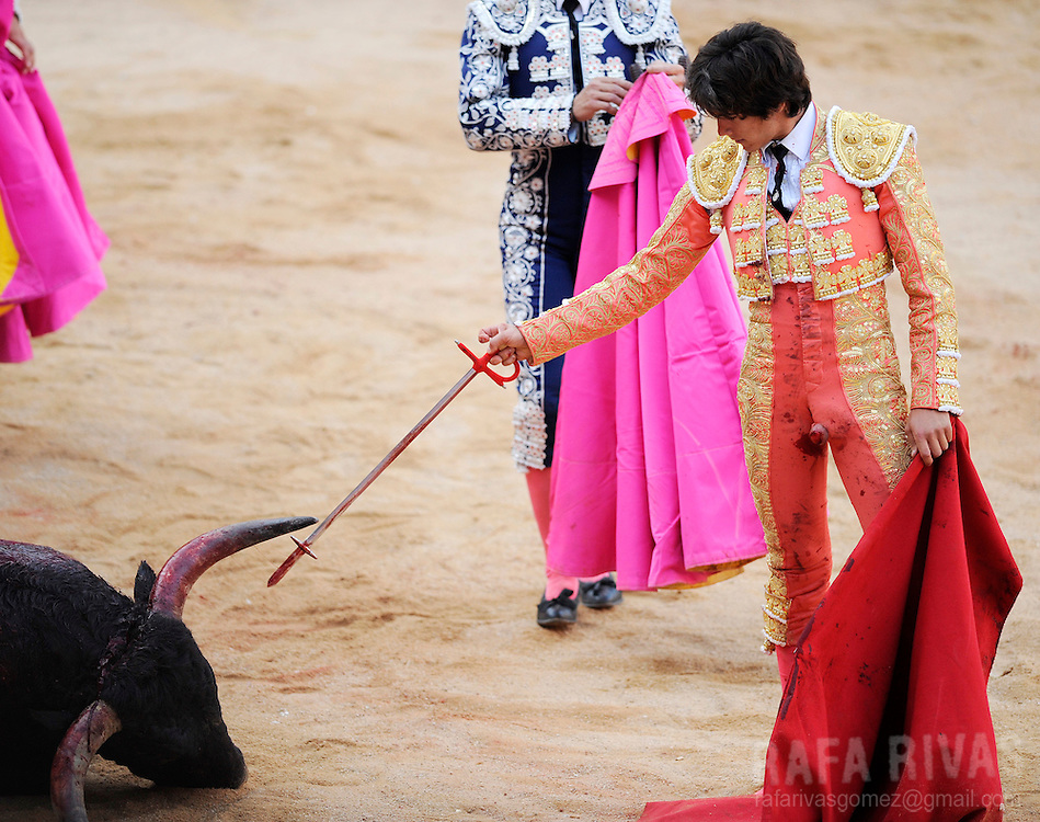 French bullfighter Sebastian Castella kill a Fuente Ymbro fighting bull which had gored him, tearing his clothes and leaving him barefoot, on July 9, 2008, in the Spanish city of Pamplona, during the thirth corrida of the San Fermin festivities.