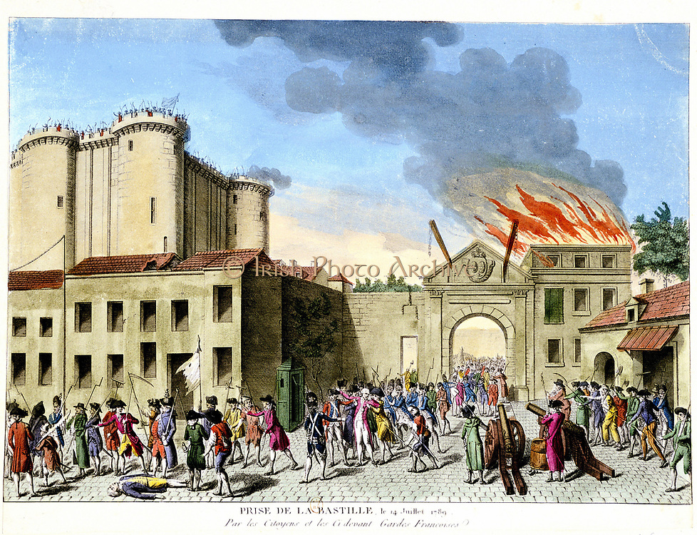 French Revolution, 1789. Storming of the Bastille, 14 July 1789.  Medieval fortress used as French state prison in 17th and 18th centuries. Hand-coloured engraving.