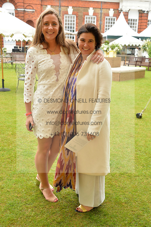 Left to right, AMY BELL and SOPHIE LILLINGSTON at the Goffs London Sale held at The Orangery, Kensington Palace, London on 12th June 2016.