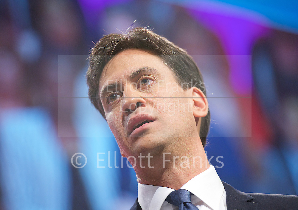 Labour Party Conference <br /> at Manchester Central, Manchester, Great Britain <br /> 23rd September 2014 <br /> <br /> Ed Miliband delivers his leaders' speech <br /> <br /> <br /> <br /> Photograph by Elliott Franks <br /> Image licensed to Elliott Franks Photography Services