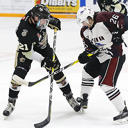 TRENTON, ON  - MAY 4,  2017: Canadian Junior Hockey League, Central Canadian Jr. &quot;A&quot; Championship. The Dudley Hewitt Cup Game 6 between Trenton Golden Hawks and the Dryden GM Ice Dogs.   Jeremy Pullara #21 of the Trenton Golden Hawks and  Garett Graham #26 of the Dryden GM Ice Dogs battle for the puck during the first period<br /> (Photo by Alex D'Addese / OJHL Images)