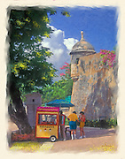 Enjoying a Piragua (snow cone) scene in Old San Juan (painting)
