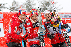05.01.2014, Langlaufstadion, Alpe Cermis, ITA, FIS Tour de Ski, Langlauf Damen, Individual Start 9 Km, im Bild Johaug Therese (NOR) with Jacobsen Astrid (NOR) & Weng Heidi (NOR) // during the Ladies 9 km Pursuit Cross Country of the FIS Tour de Ski 2014 at the Cross Country Stadium, Lago di Tesero, Italy on 2014/01/05. EXPA Pictures © 2014, PhotoCredit: EXPA/ Federico Modica