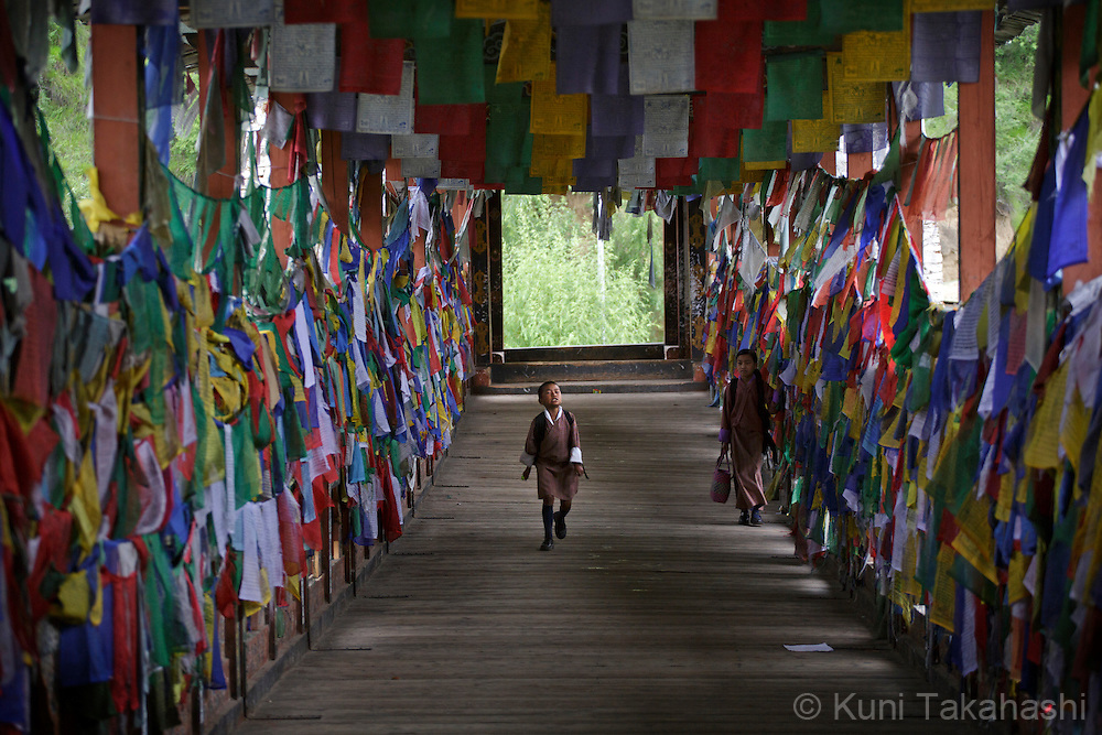 Buddhism flags are posted on the bridge in Thimpu, Bhutan on August 12, 2014.<br /> (Photo by Kuni Takahashi)