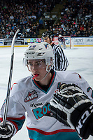 KELOWNA, CANADA - MARCH 25: Joe Gatenby #28 of Kelowna Rockets celebrates a goal against the Kamloops Blazers on March 25, 2016 at Prospera Place in Kelowna, British Columbia, Canada.  (Photo by Marissa Baecker/Shoot the Breeze)  *** Local Caption *** Joe Gatenby;