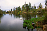 Image of Mirror Pond from Drake Park along the Deschutes River in Bend, Oregon, Pacific Northwest