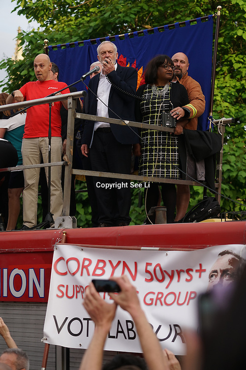 London,England,UK : 27th June 2016 : Jeremy Corbyn addresses his supporter KeepCorbyn protest against coup and Build our movement  at Parliament Square, London,UK. photo by See Li