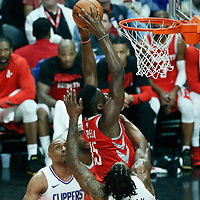 28 February 2018: Houston Rockets center Clint Capela (15) goes for the dunk during the Houston Rockets 105-92 victory over the LA Clippers, at the Staples Center, Los Angeles, California, USA.