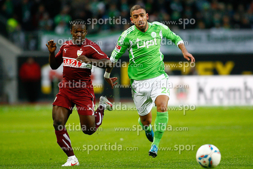 17.12.2011,Volkswagen Arena, Wolfsburg, GER, 1.FBL, VFL Wolfsburg vs VfB Stuttgart, im Bild Arthur Boka (Stuttgart #15) und Ashkan Dejagah (Wolfsburg #24) // during the match from GER, 1.FBL,VFL Wolfsburg vs VfB Stuttgart on 2011/12/17, Volkswagen Arena, Wolfsburg, Germany..EXPA Pictures © 2011, PhotoCredit: EXPA/ nph/ Schrader..***** ATTENTION - OUT OF GER, CRO *****