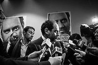"""ROME, ITALY - 5 FEBRUARY 2013: Leader of Civil Revolution and candidate for Prime Minister Antonio Ingroia (53) leads a press conference on research and business growth in Rome, Italy, on February 5, 2013.<br /> <br /> Antonio Ingroia, leader of Civil Revolution with mayor of Naples Luigi de Magistris, started his career as a magistrate in the Antimafia pool of Giovanni Falcone and Paolo Borsellino who were killed in 1992 by the Mafia. After investigating on the secret talks between the Italian state and the Mafia in the early 1990s aimed at bringing a campaign of murder and bombing to an end, Antonio Ingroia became chief of investigations of the International Commission against Impunity in Guatemala (CICIG). <br /> <br /> A general election to determine the 630 members of the Chamber of Deputies and the 315 elective members of the Senate, the two houses of the Italian parliament, will take place on 24–25 February 2013. The main candidates running for Prime Minister are Pierluigi Bersani (leader of the centre-left coalition """"Italy. Common Good""""), former PM Mario Monti (leader of the centrist coalition """"With Monti for Italy"""") and former PM Silvio Berlusconi (leader of the centre-right coalition).<br /> <br /> ###<br /> <br /> ROMA, ITALIA - 5 FEBBRAIO 2013: Antonio Ingroia (53 anni), leader di Rivoluzione Civile e candidato alla Presidenza del Consiglio, tiene una conferenza stampa sulla ricerca e il rilancio delle imprese nel suo comitato elettorale a Roma il 5 febbraio 2013.<br /> <br /> Antonio Ingroia, leader di Rivoluzione Civile insieme al sindaco di Napoli Luigi de Magistris, ha iniziato la sua carriera da magistrato nel pool antimafia di Giovanni Falcone e Paolo Borsellino, uccisi dalla mafia nel 1992. Dopo aver indagato sulla trattativa Mafia-Stato (un accordo che avrebbe previsto la fine della stagione stravista in cambio di un'attenuazione delle misure detentive previste dall'articolo 41bis), Antonio Ingroia è stato chiamato a dirigere l'unità di investiga"""