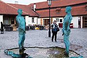 The Piss Sculpture (Two Pissing Men statue) by David Cerny, Prague, Czech Republic