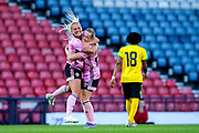 Erin Cuthbert (#22) of Scotland celebrates Scotland's first goal (1-1) with Kirsty Smith (#2) of Scotland during the International Friendly match between Scotland Women and Jamaica Women at Hampden Park, Glasgow, United Kingdom on 28 May 2019.