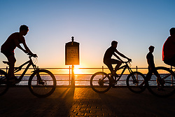 © Licensed to London News Pictures.<br /> <br /> 22 / 06 / 2018 . Aberystwyth Wales UK<br /> <br /> UK Weather: A dramatic golden sunset in Aberystwyth on the west Wales coast, as the UK heads into a mini heatwave, with temperatures forecast to hit 27º or 28º Celsius by the middle of next week<br /> <br /> photo credit  Keith Morris/LNP