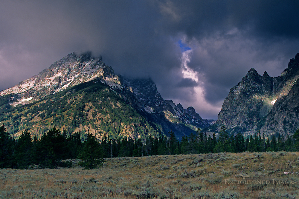 Teton Range dusted by first snowstorm of fall, Grand Teton Nat'l. Pk., WYOMING