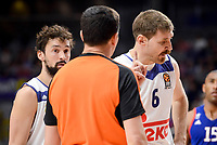Real Madrid's Sergio Llull and Andres Nocioni talking with referee during Turkish Airlines Euroleague match between Real Madrid and Anadolu Efes at Wizink Center in Madrid, April 07, 2017. Spain.<br /> (ALTERPHOTOS/BorjaB.Hojas)