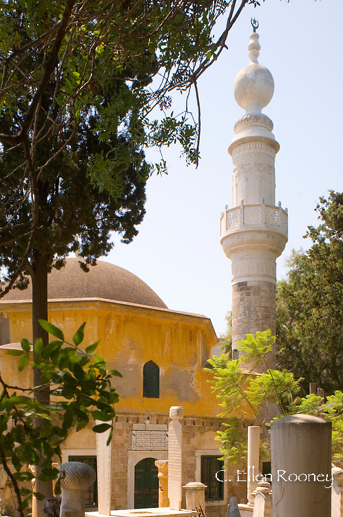 The Tzami Tou Mourad Reis Mosque and Muslim cemetery, Rhodes Town, Rhodes,<br /> Dodecanese Islands, Greece