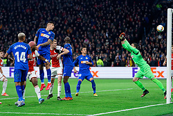 Perr Schuurs #2 of Ajax and Mathías Olivera #17 of Getafe scores in own goal during the Europa League match R32 second leg between Ajax and Getafe at Johan Cruyff Arena on February 27, 2020 in Amsterdam, Netherlands