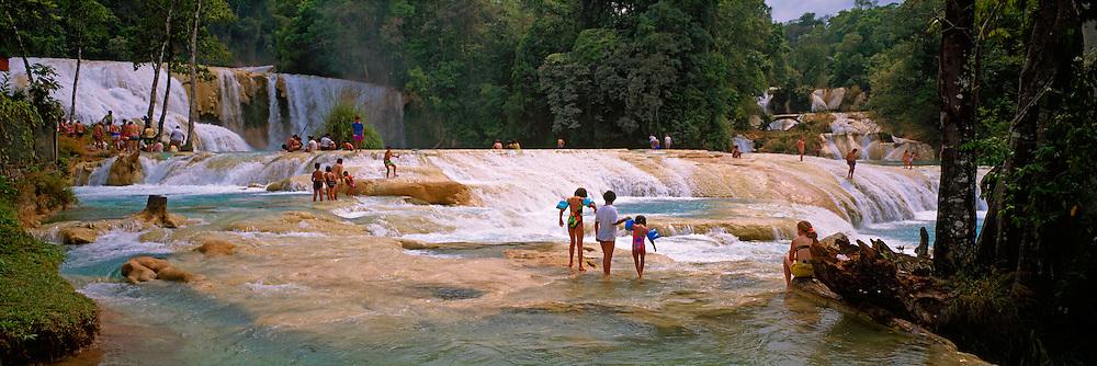 MEXICO, LANDSCAPE, CHIAPAS Agua Azul cascades near Palenque
