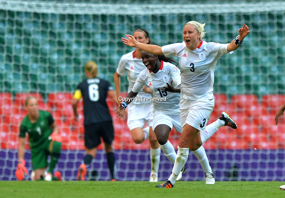 25.07.2012. Cardiff, Wales.  Stephanie Houghton  of Great Britain Celebrates Scoring during The Preliminary Round Group E Match of Women s Football Against New Zealand in Cardiff Wales.   Great Britain Won The Match 1 0