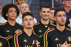 September 7, 2018 - Glasgow, SCOTLAND - Belgium's Axel Witsel, Belgium's Leander Dendoncker, Belgium's Thomas Meunier and Belgium's goalkeeper Koen Casteels pictured during the national anthem at the start of a friendly soccer game between Scotland and Belgian national team the Red Devils, in Glasgow, Scotland, Friday 07 September 2018. BELGA PHOTO BRUNO FAHY (Credit Image: © Bruno Fahy/Belga via ZUMA Press)