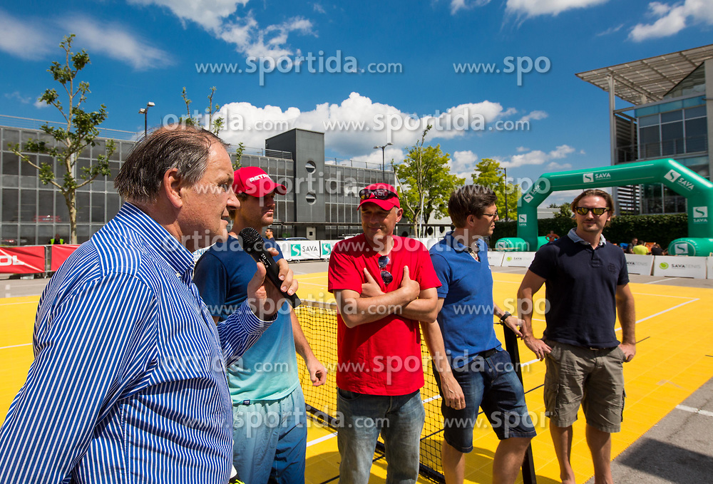 "Marko Umberger, Blaz Kavcic, Gasper Bolhar, Damjan Kralj and Miha Rakar at Fan tennis event for kids named ""Play tennis"" by Tenis Slovenija, on May 26, 2018 in BTC - Millenium centre Ljubljana, Slovenia. Photo by Vid Ponikvar / Sportida"