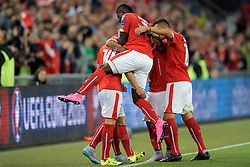 05.09.2015, St. Jakob Park, Basel, SUI, UEFA Euro 2016 Qualifikation, Schweiz vs Slowenien, Gruppe E, im Bild Swiss players celebrate a goal // during the UEFA EURO 2016 qualifier group E match between Switzerland and Slovenia at the St. Jakob Park in Basel, Switzerland on 2015/09/05. EXPA Pictures © 2015, PhotoCredit: EXPA/ Freshfocus/ Steffen Schmidt<br /> <br /> *****ATTENTION - for AUT, SLO, CRO, SRB, BIH, MAZ only*****