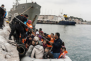 March 1, 2016 - Athens, Greece - <br /> <br /> Migrants and refugees arrive on the Greek island of Lesbos while crossing the Aegean Sea from Turkey on March 2, 2016, in Mytilene...The EU on March 2 proposed 700 million euros in emergency aid for Greece and other states as it began to tackle the migrant crisis within its borders like humanitarian disasters in developing countries. So far, more than 131,000 migrants have crossed the Mediterranean to reach Europe this year, UN figures show -- more than the total number for the first five months of 2015. Last year, a million landed on Europe's shores.<br /> ©Exclusivepix Media