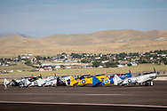 RENO, NV - SEPTEMBER 13: Airplanes line up to race the T-6 class at the Reno Championship Air Races on September 13, 2017 in Reno, Nevada. (Photo by Jonathan Devich/Getty Images)