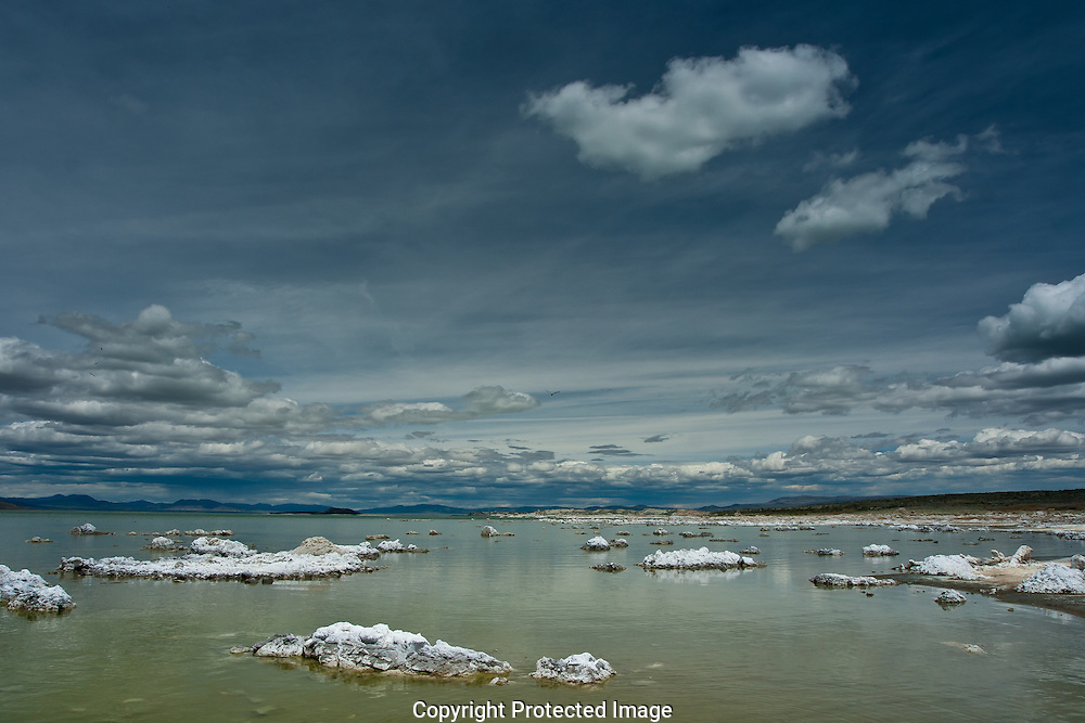 Summer storms moving across Mono Lake in eastern California