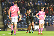 Junior Rasolea (12) scores winning try in the European Rugby Challenge Cup match between Edinburgh Rugby and Stade Francais at Murrayfield Stadium, Edinburgh, Scotland on 12 January 2018. Photo by Kevin Murray.