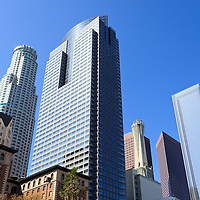 Photo of Los Angeles skyscrapers in Southern California in the United States.