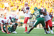 WACO, TX - SEPTEMBER 2:  Stephen Calvert #12 of the Liberty Flames drops back to pass against the Baylor Bears during a football game at McLane Stadium on September 2, 2017 in Waco, Texas.  (Photo by Cooper Neill/Getty Images) *** Local Caption *** Stephen Calvert