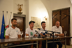 Andrej Hauptman SLO National team coach (left), Primoz Roglic (center), Tomaz Grm (right) during reception of slovenian rider Primoz Roglic after Tour de France 2018 on August 6, 2018 in Ljubljana, Slovenia. Photo by Urban Meglic / Sportida